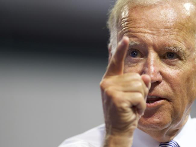 US Vice President Joe Biden 's touching repartee to a heckler. Picture: Mark Makela / Getty Images / AFP