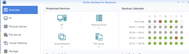 Synology's Active Backup for Business provides a large number of options managed through a central console