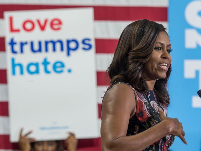 US First Lady Michelle Obama campaigns for Hillary Clinton. Picture: AFP/Zach Gibson