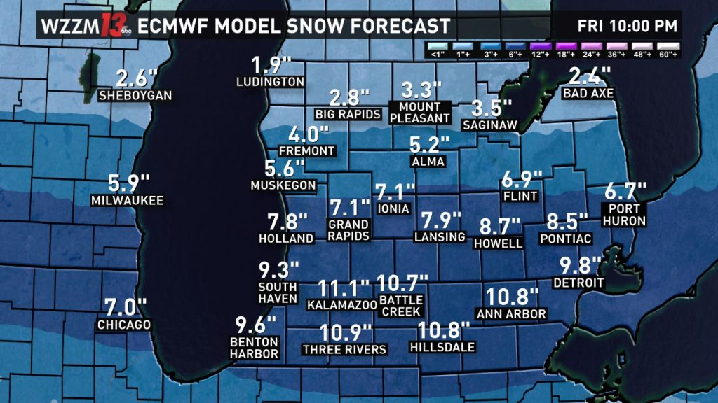Snowfall amounts will vary considerably from south to north between Thursday night and Friday night