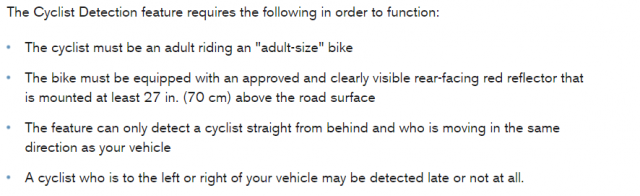 Cyclist detection also has plenty of limitations. Here we use the caveats on Volvo's version as an example.