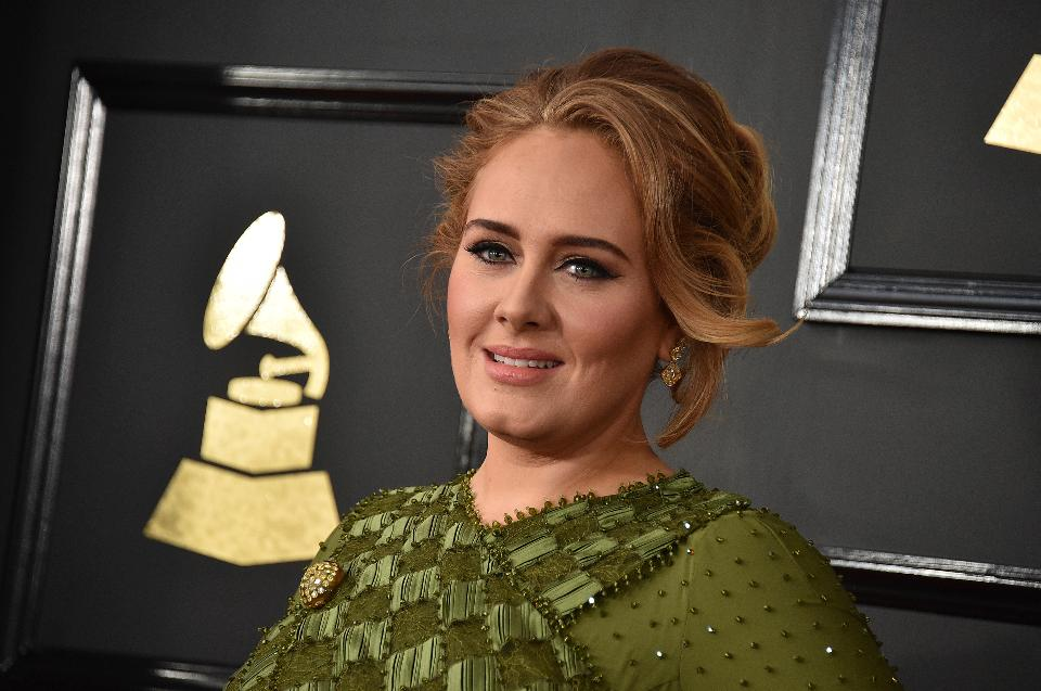 Adele arrives at the 59th annual Grammy Awards at the Staples Center on Sunday Feb. 12 2017 in Los Angeles