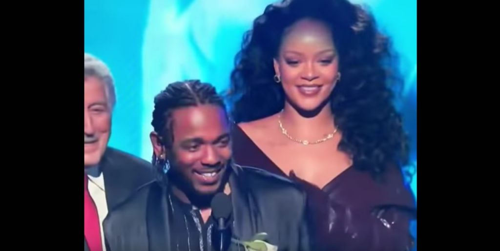 Kendrick Lamar and Rihanna accepting the Grammy for Best Rap  Sung Performance
