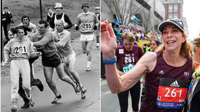Kathrine Switzer left being attacked at Boston Marathon in 1967. She ran it again Monday at age 70