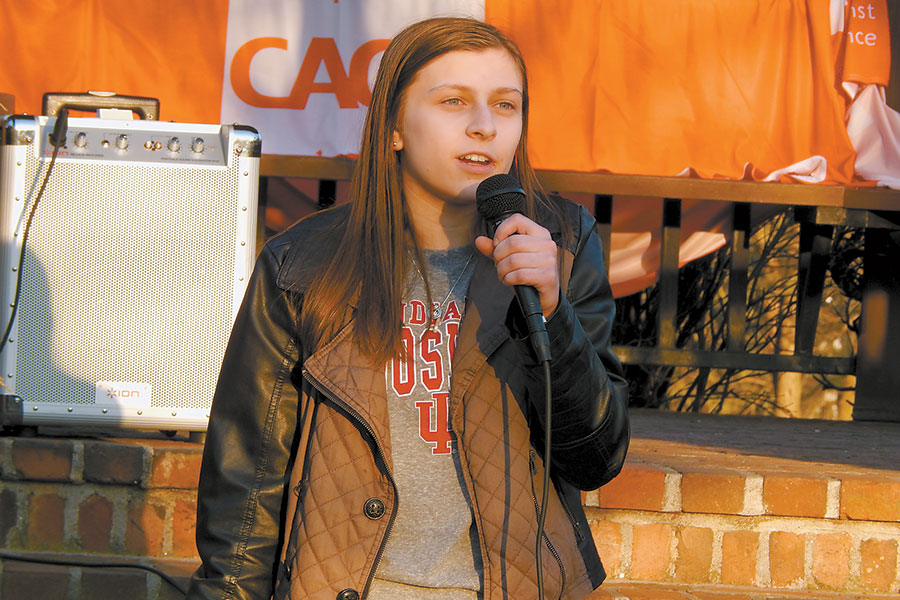 Wilton High School senior Emily Kesselman at a Teens Against Gun Violence rally organized by fellow Wilton student Isabella Segall on Feb. 21. — Kendra Baker
