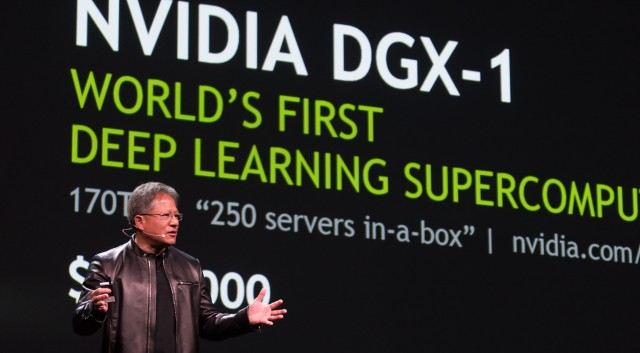 Nvidia's Jen-Hsun Huang announcing the DGX-1 at GTC 2016
