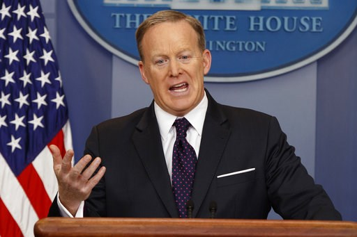White House press secretary Sean Spicer speaks during the daily press briefing at the White House in Washington Wednesday