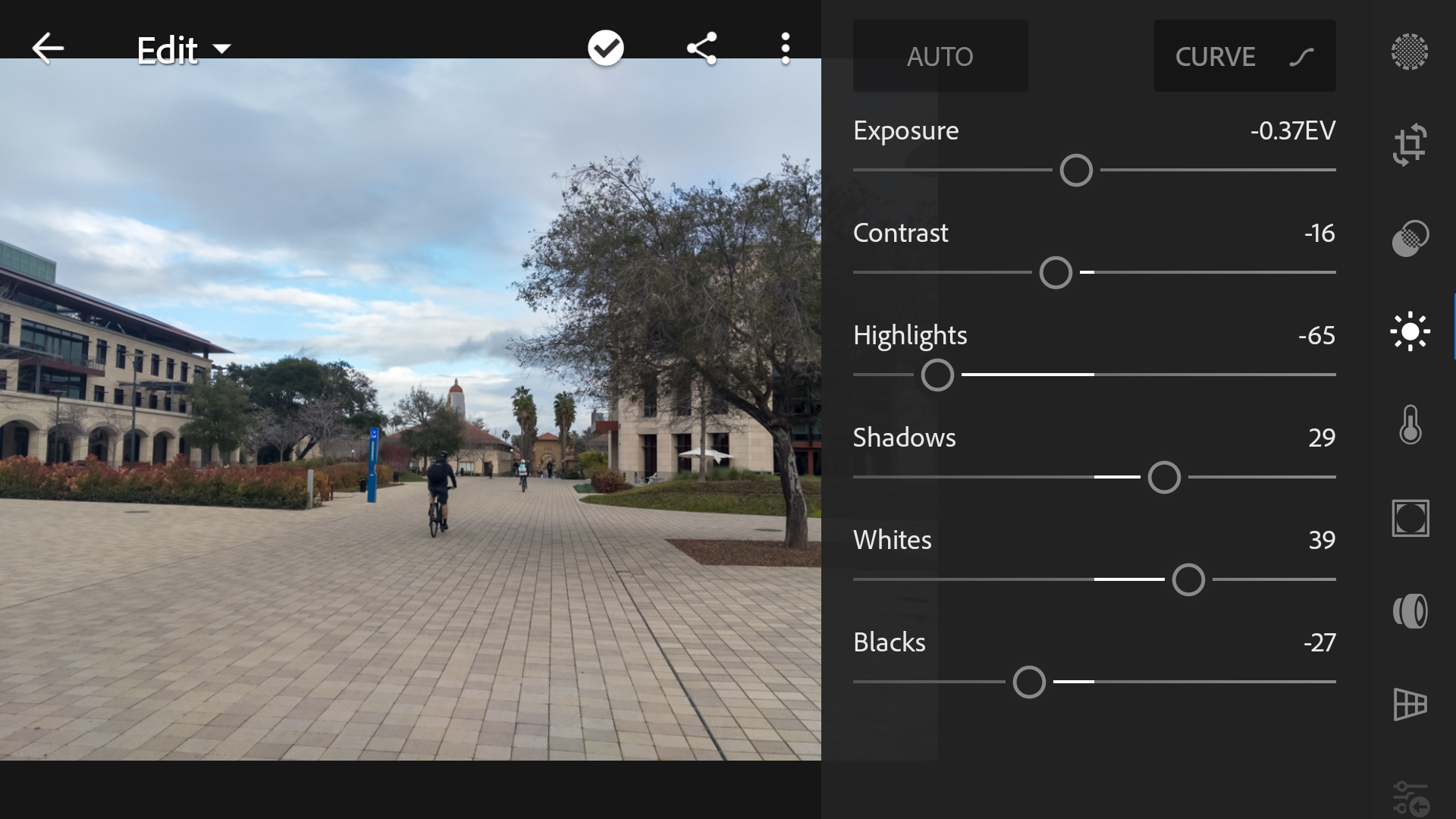 Lightroom mobile offers a wide-variety of editing tools, starting with these simple slider-based adjustments