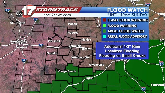 Heavy rain could lead to flooding through Saturday