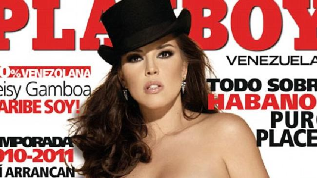 Ms Machado became a initial Miss Universe leader to poise for Playboy.