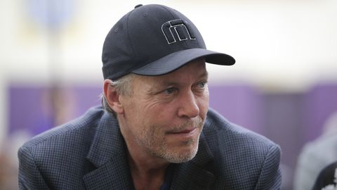 Los Angeles Lakers part-owner Jim Buss attends a news conference held to introduce the team's new draft picks Monday