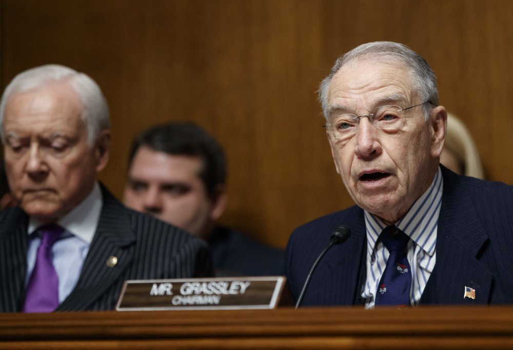 Senate Judiciary Committee Chairman Sen. Chuck Grassley R-Iowa right says he has been having trouble getting information