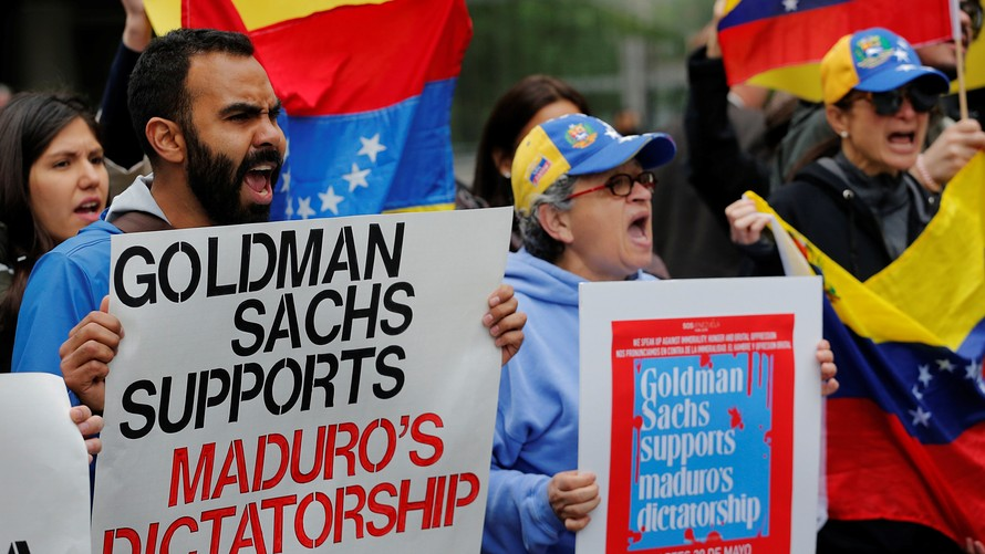 Reuters            Protesters demonstrate outside of Goldman Sachs headquarters after the company purchased Venezuelan bonds