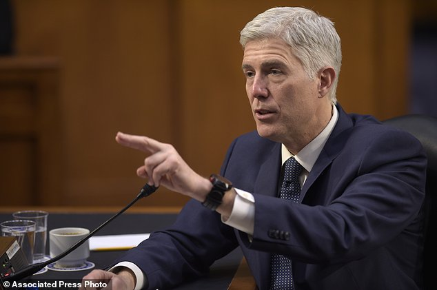 Supreme Court Justice nominee Neil Gorsuch testifies on Capitol Hill in Washington before the Senate Judiciary Committee. Senate Democratic opposition to President Donald Trump's Supreme Court nominee swelled Frid