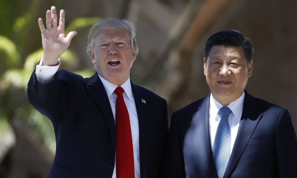 Donald Trump and Xi Jinping at the Mar-a Lago estate in West Palm Beach Florida on April 7