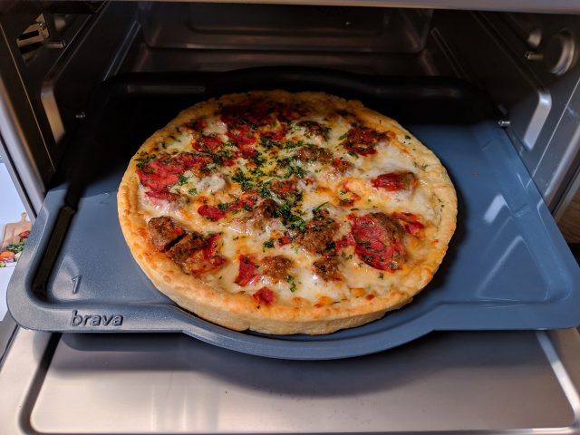 A personal pizza that would have taken 20 minutes to preheat and 12 to cook in a conventional oven was cooked to my liking in less than 10 minutes in the Brava