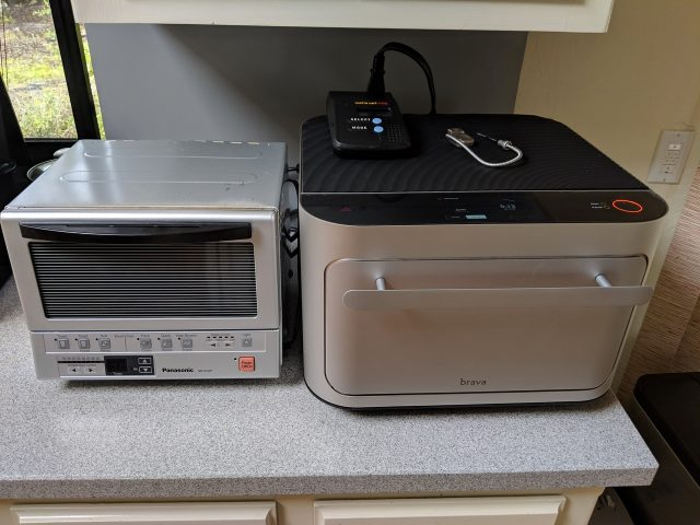 The Brava is much larger and heavier than a typical toaster oven although it doesn't have much more room inside