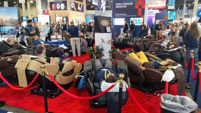 The lounge chair booth is always very popular. I don't know how many they sell, but they make a lot of friends. This year some were claiming health and posture benefits as well. Sweet!