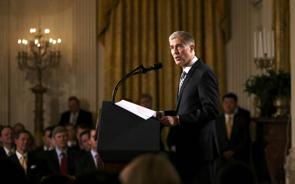 Image Judge Neil Gorsuch speaks after President Trump nominated Gorsuch to be an associate justice of the U.S. Supreme Court at the White House in Washington D.C. on Jan. 31
