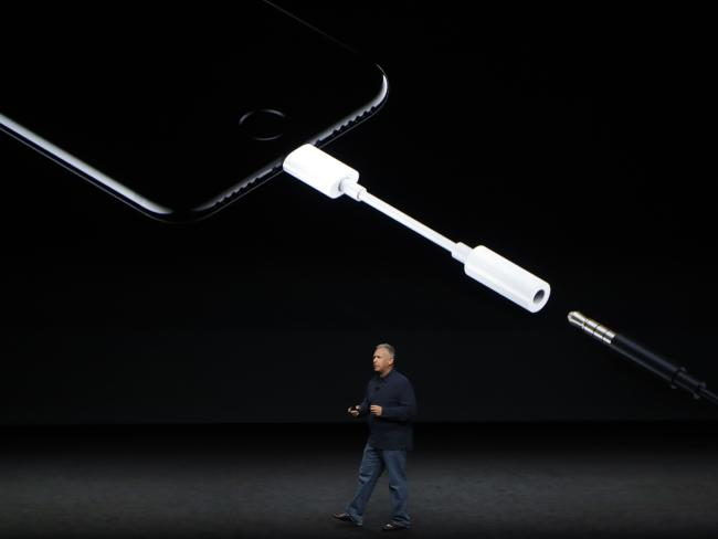 Phil Schiller, Apple's comparison clamp boss of worldwide marketing, says we will still be means to use your ear buds though with a new adapter. Picture: AP
