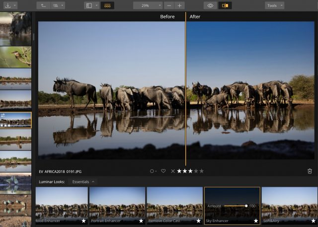 Luminar's Sky Enhancer does a good job of automatically selecting the sky and enhancing its natural color