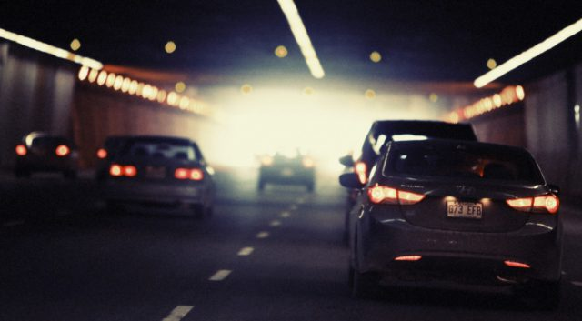 Image showing the difficulty of capturing images while driving through tunnels