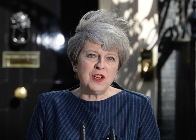 Prime Minister Theresa May makes a statement in Downing Street London announcing a snap general election on June 8