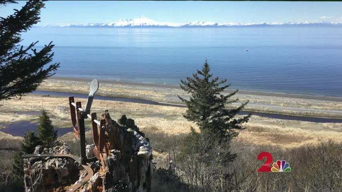 Anchor Point-and a view across the inlet to snow-capped volcanoes. Raynie Hamlin