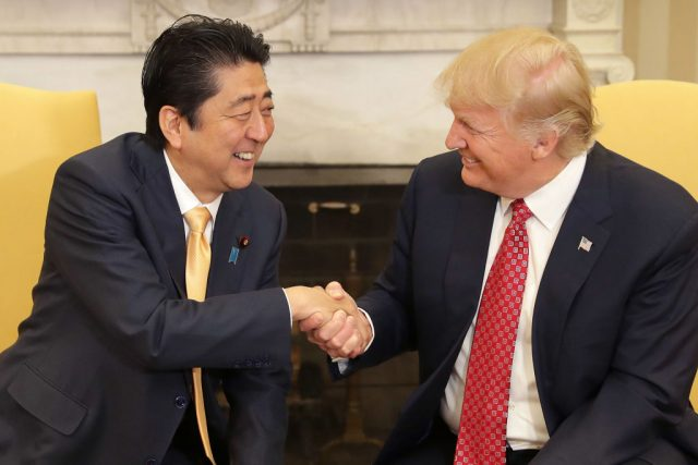 Japanese PM Shinzo Abe arrives in Washington for first official meeting with President Trump