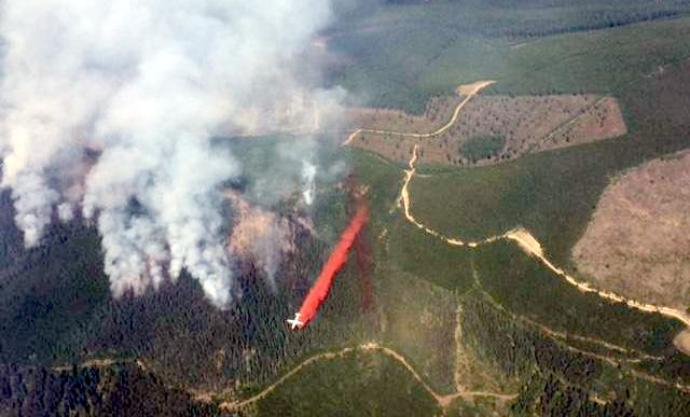 A Canadian tanker making a drop at the Caribou Fire in Montana