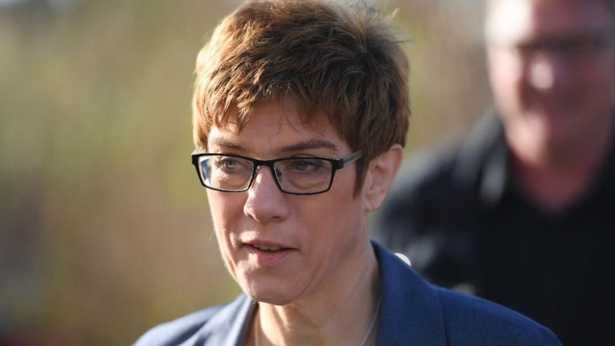 Saarland's Governor and top candidate of the Christian Democrats CDU for the state election Annegret Kramp-Karrenbauer leaves the polling station after casting her vote in Puettlingen Germany Sunday